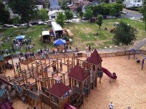 reopening event aerial shot